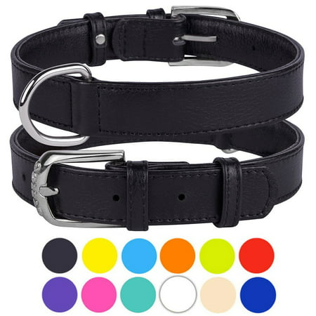 Leather Dog Collar Puppy Collars for Medium Dogs Soft Padded, Black