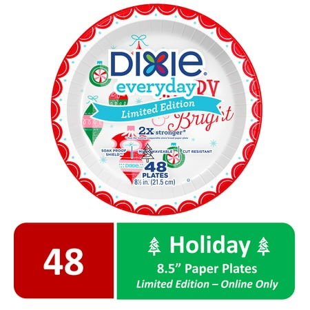Dixie Holiday Paper Plates, Limited Edition, 8.5u0022, 48 Count