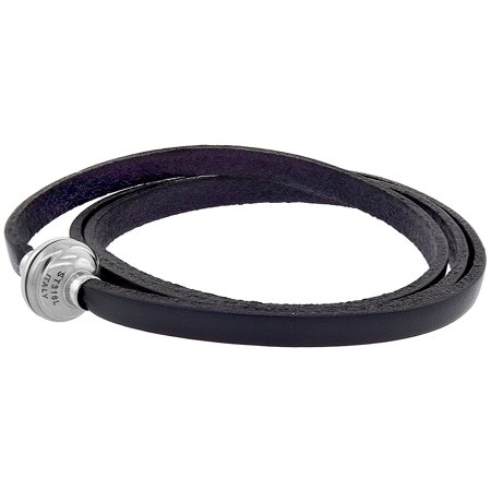 Black Leather Bracelet for women 3 Wrap Surgical Steel Neodymium Magnetic Clasp Italy