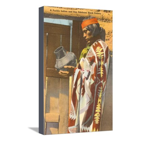 San Ildefonso Pueblo Potter, New Mexico Stretched Canvas Print Wall Art