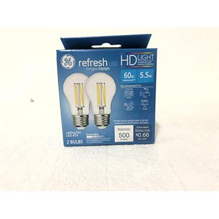 - Ge 46661 Hd Light Refresh 60W A15 Celling Fan Dimmable 500 lumnes 2 Bulbs