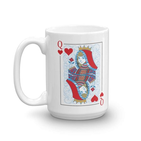 Queen of Hearts Poker Card Game Night His and Hers Matching Gift Mugs (15oz)