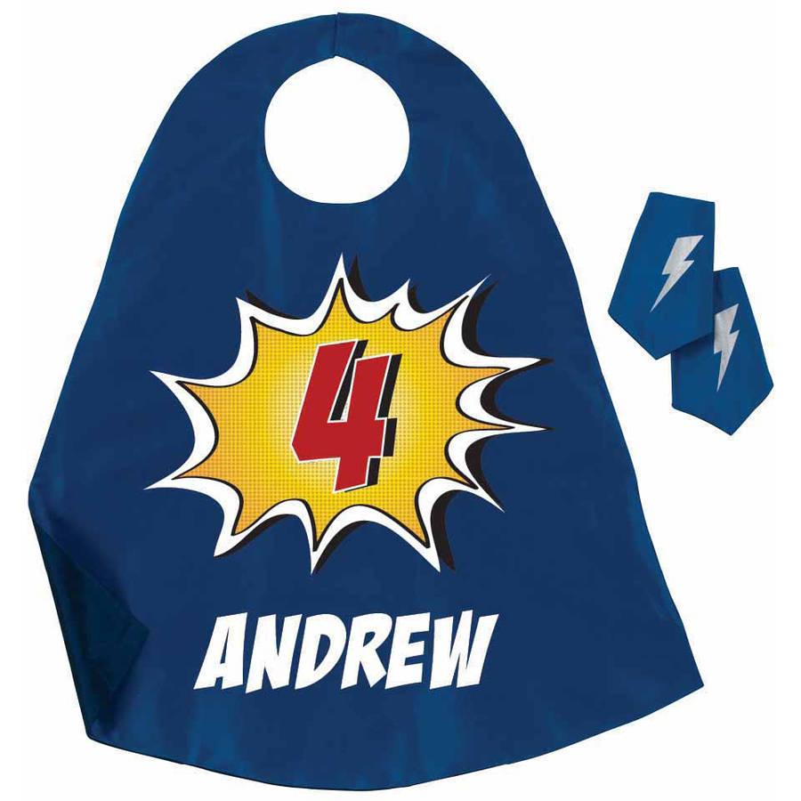Personalized Super Birthday Hero Cape & Cuff Set Available In Multiple Colors