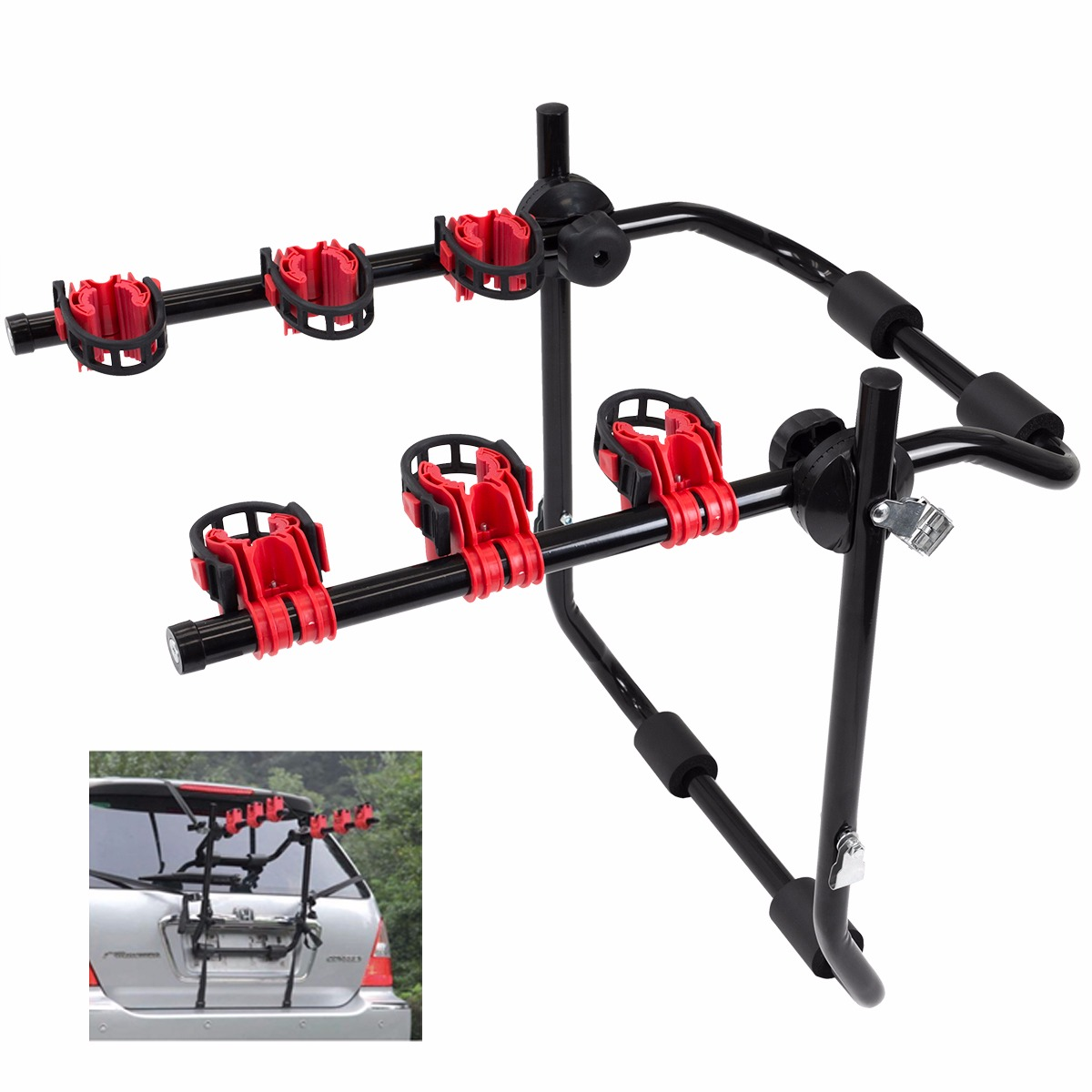 3-Bike Trunk-Mount Hatchback SUV Car Bicycle Carrier pannier Rack by