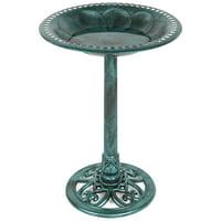 Best Choice Products Outdoor Rustic Pedestal Bird Bath Accent for Garden, Yard w/ Fleur-de-Lis Accents  Green
