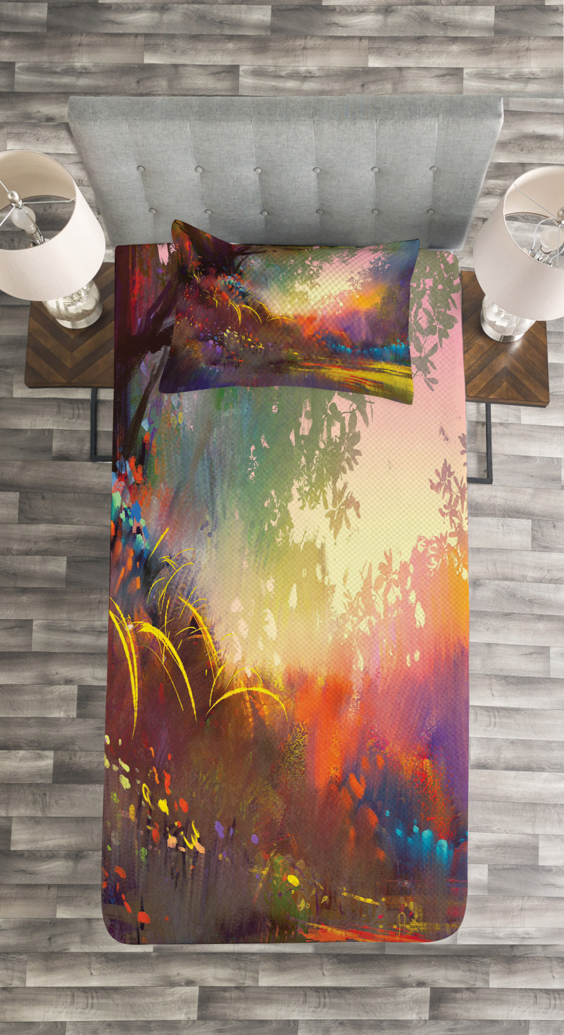 Fantasy Bedspread Set Magical Lake With Brush Effects Surreal Nature Elf Tranquil And Serene Art Print Decorative Quilted Coverlet Set With Pillow Shams Included Multicolor By Ambesonne Walmart Com Walmart Com