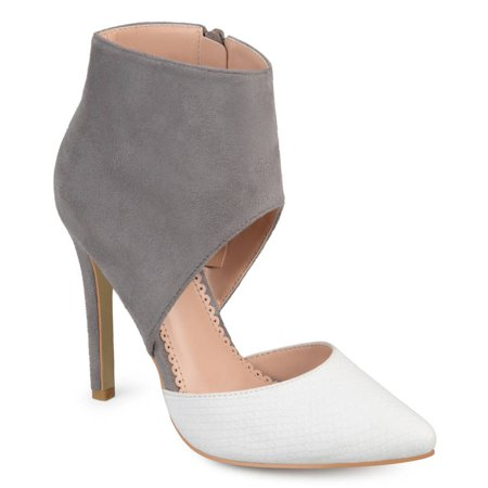 Brinley Co. Women's Faux Suede Faux Leather Ankle Cuff Two-tone High Heels ()