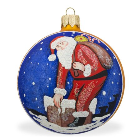White Glass Chimney - Santa Climbing Down the Chimney Glass Ball Christmas Ornament 3.25 Inches
