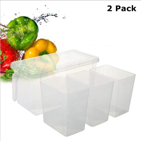 2pk - 3 Compartment Plastic Food Container With Handled Bin Ice Cream Topping Dispenser Set BPA Free - Ice Cream Container