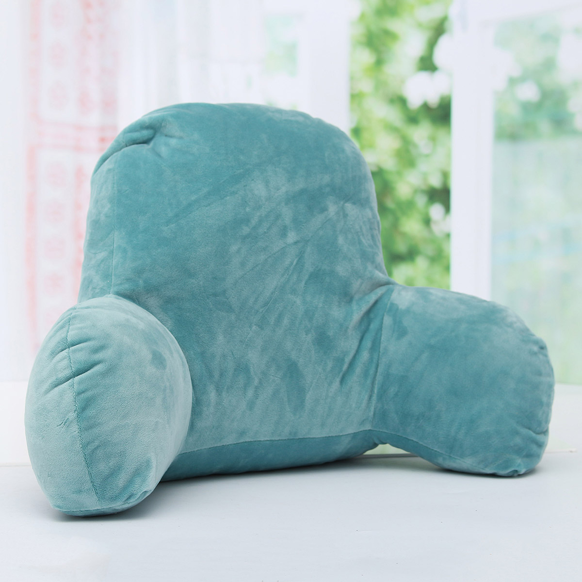 Comfort Micro Bed Rest – Reading and Bedrest Lounger – Sitting Support Pillow – Soft But Firmly Stuffed PP Cotton Fill – Backrest Pillow with Arms