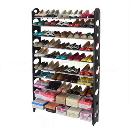 Ball Rack Holds - 10 Tier Stackable Shoe Rack Storage Shelves - Stainless Steel Frame Holds 50 Pairs of Shoes - 38.19 x 7.48 x 60.62