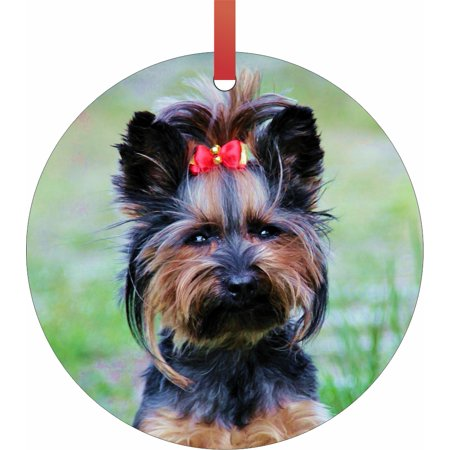 Ornaments Yorkie Yorkshire Terrier Puppy Girl in a Red Bow Round Shaped Flat Semigloss Aluminum Christmas Ornament Tree Decoration