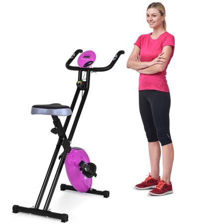 Costway Folding Magnetic Exercise Bike LCD Display 3.5lbs Flywheel Resistance