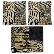 bed bath n more Sweet Home Collection Multicolor Faux Fur Mixed Exotic Animal Print Plush Decorative Pillows and Throw (Pack of 3)