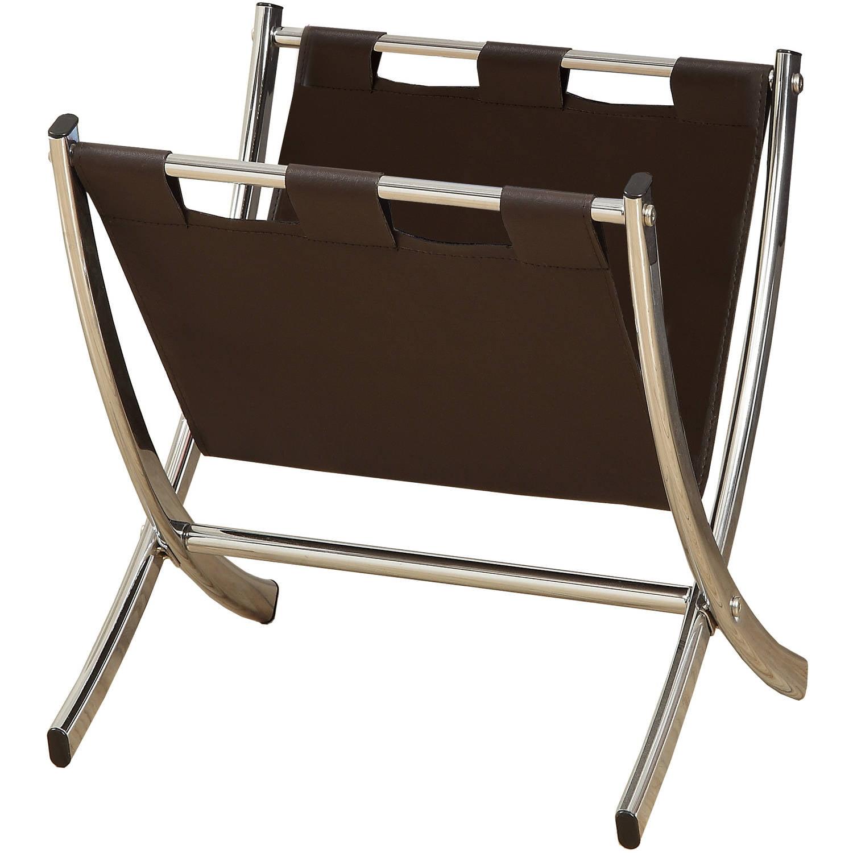 Dark Brown Leather-Look Chrome Metal Magazine Rack by Monarch Specialties Inc