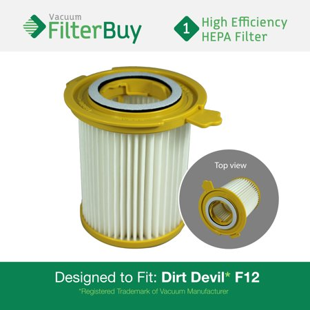 Dirt Devil F12 Filter - Dirt Devil F-12 (F12) HEPA Replacement Filter, Part # 3KD1680000 (3-KD1680-000).  Designed by FilterBuy to fit Dirt Devil Vision Canister Vacuum Cleaners