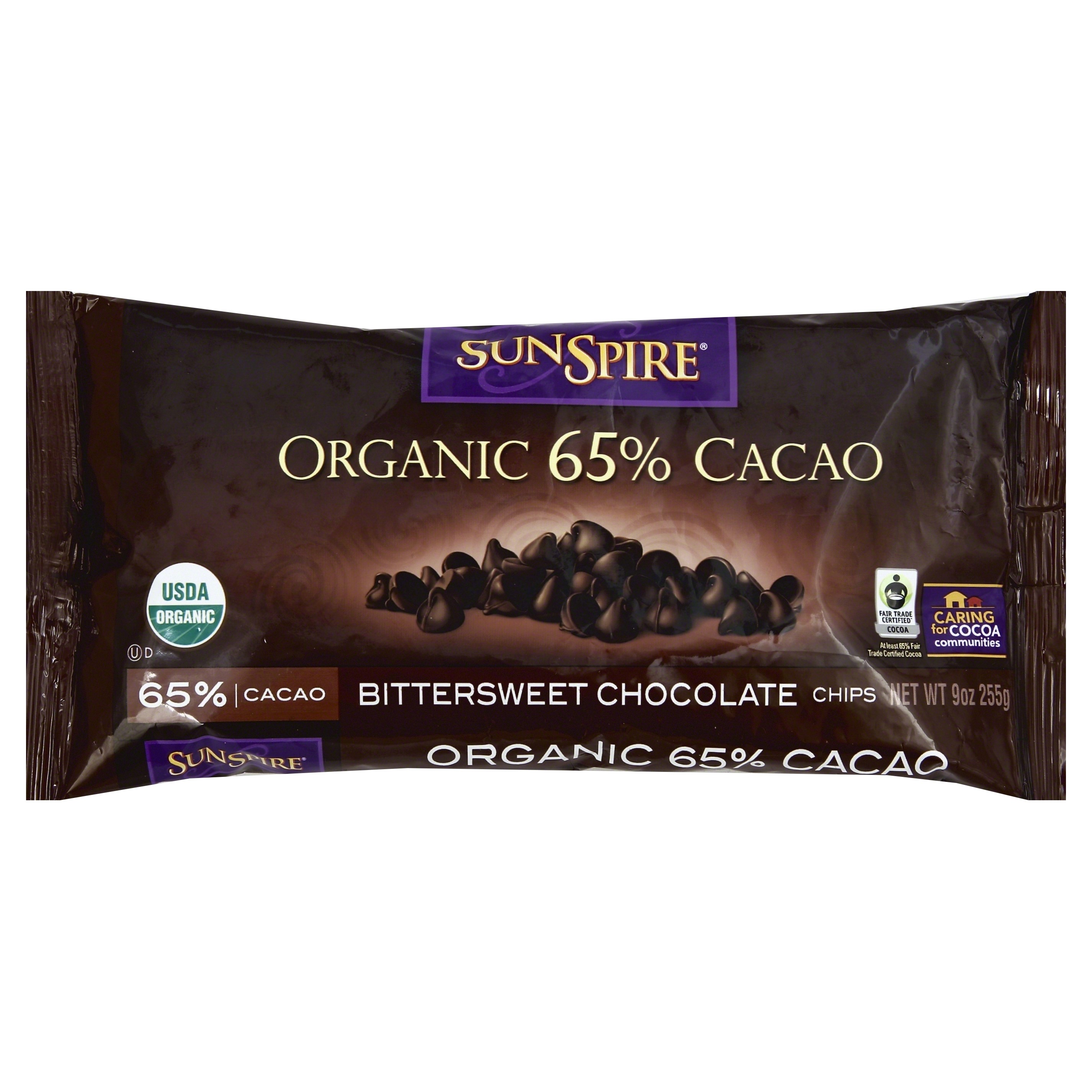 SunSpire Organic Fair Trade 65% Cacao Baking Chips, 9 Oz by Hain Celestial