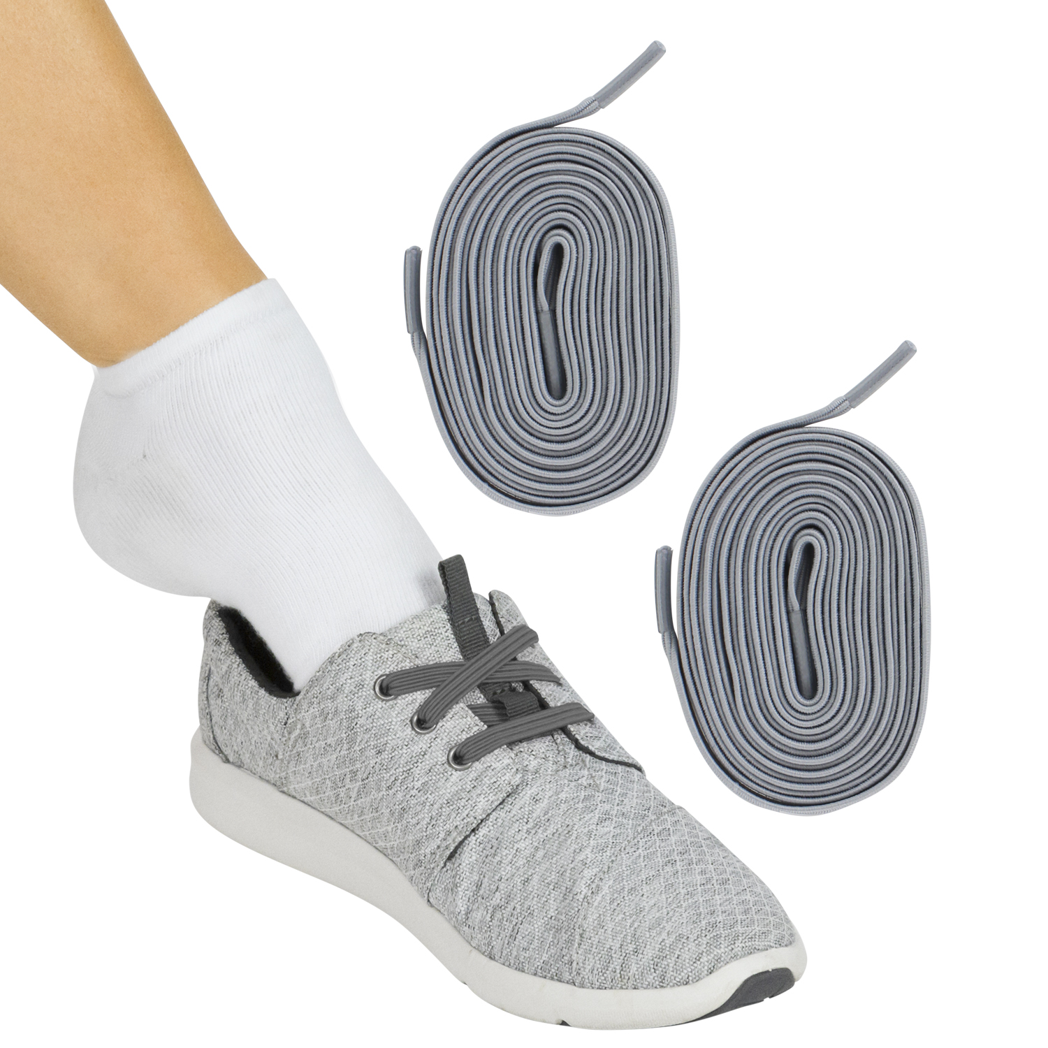 Vive Elastic Shoe Laces (Gray Pair) - No Tie, Lace Up, Flat Replacement Shoelaces for Men, Women, Sports, Running, Adults, Kids, Tennis, Disabled, Elderly, Dress Assist - One Size Long, Stretch Band