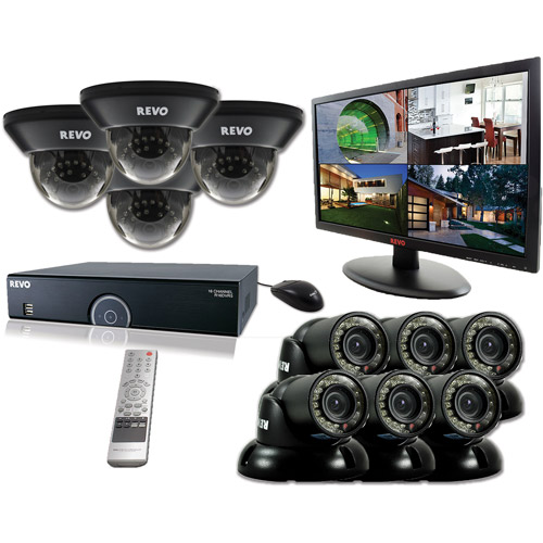 "Revo 16-Channel 2TB 960H DVR Surveillance System with Ten 700TVL 100' Night Vision Cameras and 21.5"" Monitor"