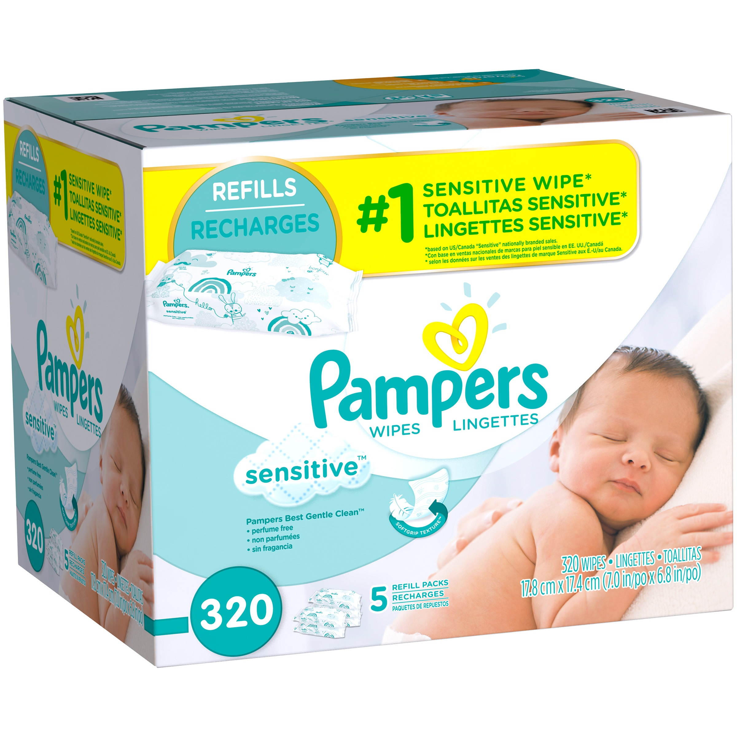 Pampers Sensitive Baby Wipes Refills, 5 packs of 64, (320 count)
