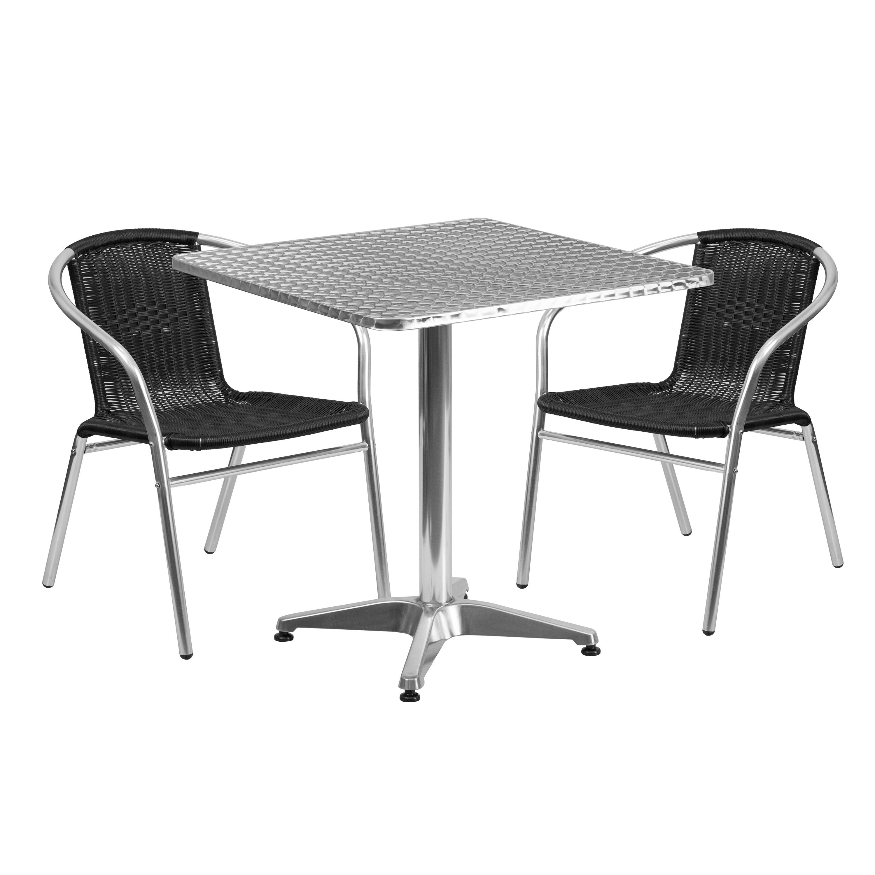 "Flash Furniture 27.5"" Square Aluminum Indoor-Outdoor Table with 2 Rattan Chairs, Multiple Colors"