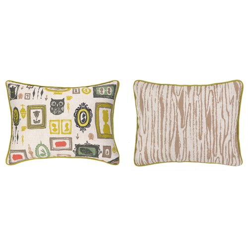 Sarah Watts Victorian Frames Reversible Printed and Embroidered Lumbar Pillow