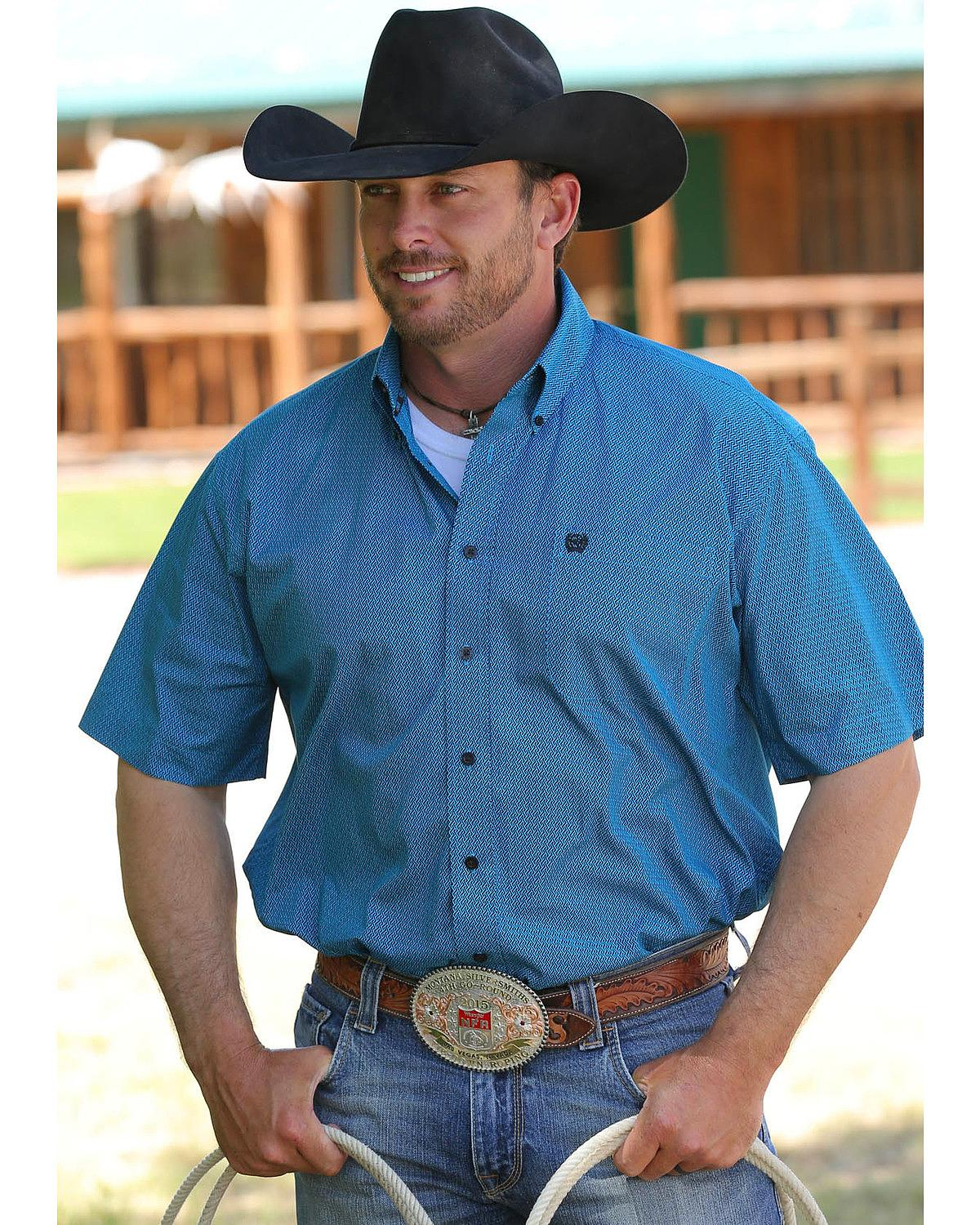 Cinch Men\'s Turquoise Short Sleeve Weave Shirt - Mtw1111218 Tur ...