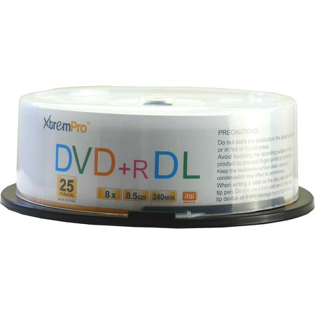 XtremPro DVD+R DL 8X 8.5GB 240Min Recordable Double Layer DVD 25 Pack Blank Discs in Spindle - -