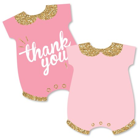 Thank You Note For Baby Shower (Hello Little One - Shaped Thank You Cards - Girl Baby Shower Thank You Note Cards with Envelopes - Set of)