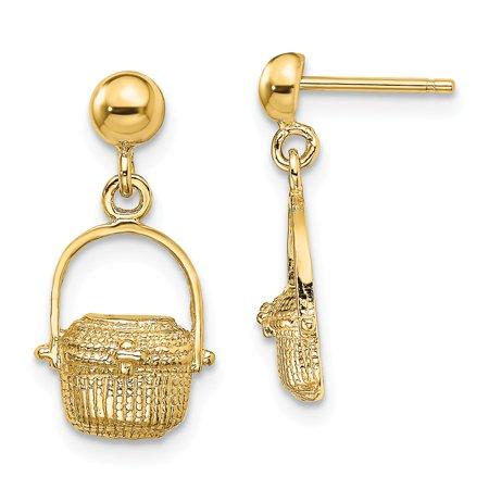 Solid 14k Yellow Gold NANTUCKET BASKET Dangle Earrings (3of3) 2-D - 18mm x 9mm