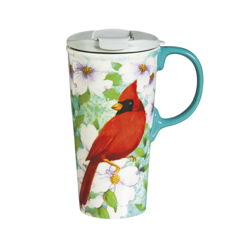 Cypress Home Cardinal Trio Ceramic Travel Coffee Mug, 17 ounces