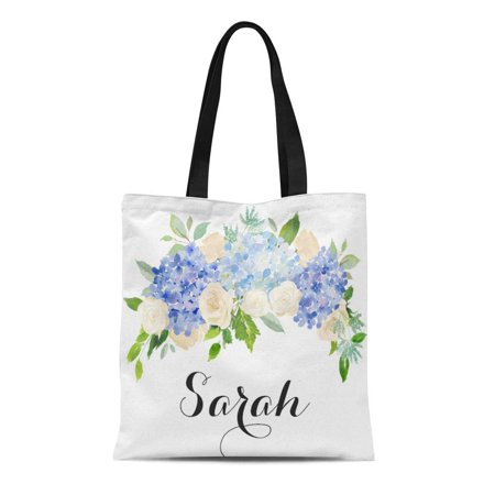 SIDONKU Canvas Tote Bag Blue Flowers Personalized Tote Floral Bridesmaid Beige White Reusable Handbag Shoulder Grocery Shopping Bags](Personalized Bridesmaid Bags)