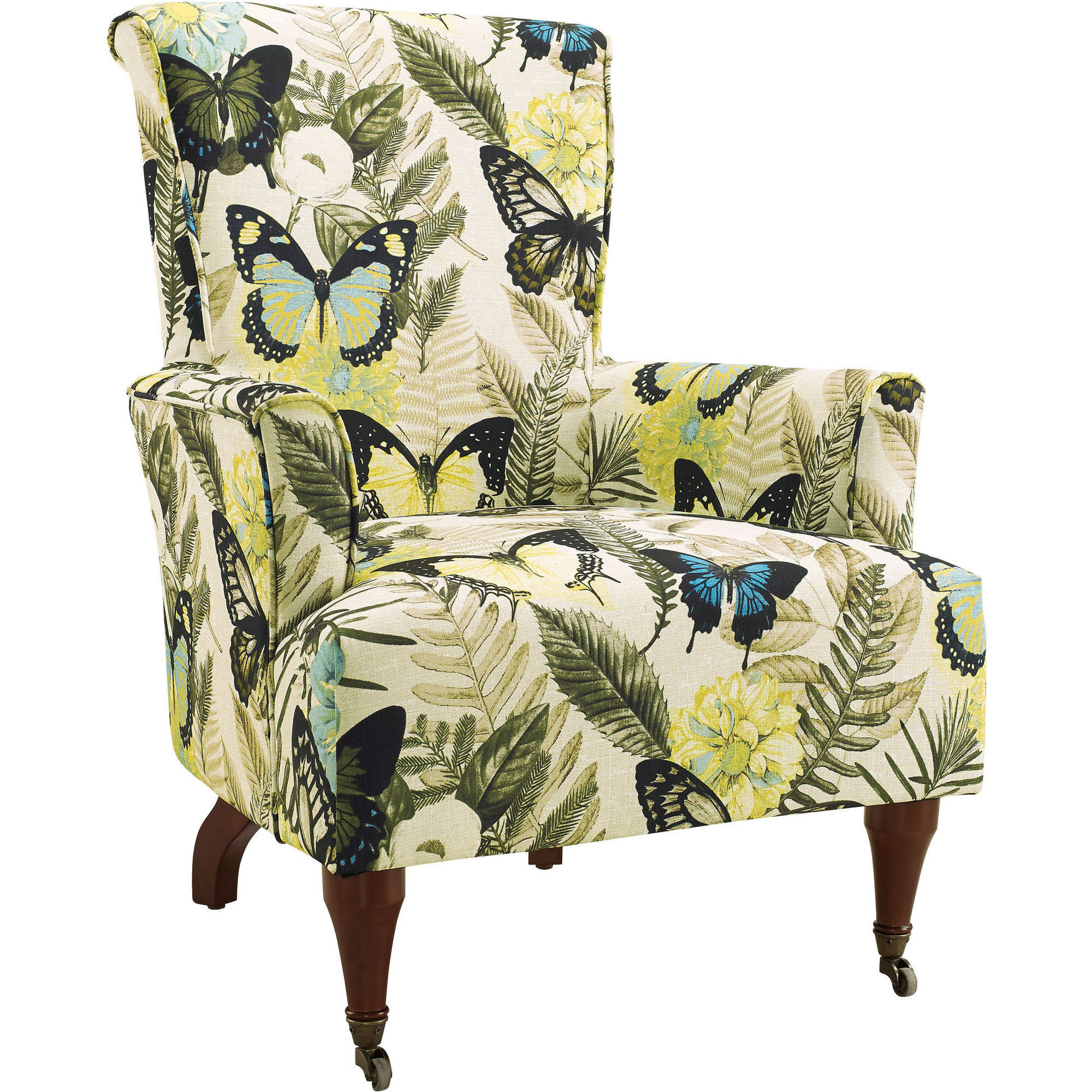 Linon Junnell Arm Chair, Multicolor Polyester, Dark Walnut Legs