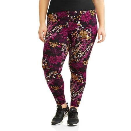 Danskin Now Women's Plus Active Allover Floral Print Ankle (Danskin Lycra Leggings)