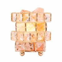 Clearance! Natural Himalayan Crystal Salt Lamp with Metal Base,Dimmable Controller, Dimmer Switch,UL-Listed Cord - Cube