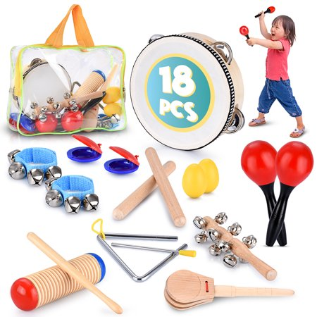 Educational & Musical Percussion for Preschool, Toddlers & Kids Instruments Wooden Toy Set  Tambourine, Maracas, Castanets & Much More - Wooden Maracas Wholesale