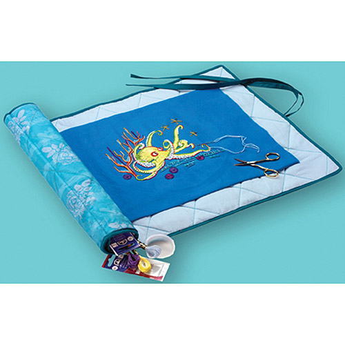 DMC Needlework Project Keeper, Turquoise with White Floral Print