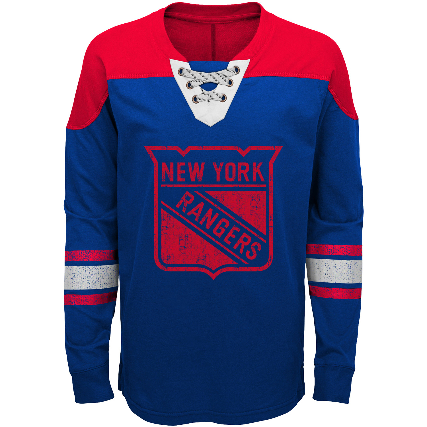 New York Rangers Youth Perennial Hockey Lace-Up Crew Sweatshirt Blue Red by Outerstuff