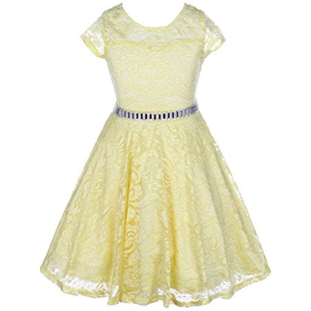 Big Girls' Illusion Lace Top Stone Belt Easter Flower Girl Dress Yellow 8 - Red Damask Dress