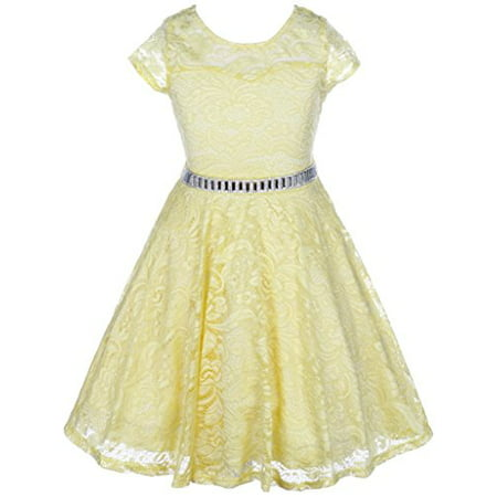 Big Girls' Illusion Lace Top Stone Belt Easter Flower Girl Dress Yellow 8 (J19KS88)](Pale Yellow Flower Girl Dresses)