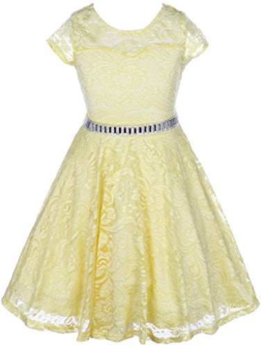 Big Girls' Illusion Lace Top Stone Belt Easter Flower Girl Dress Yellow 8 (J19KS88)