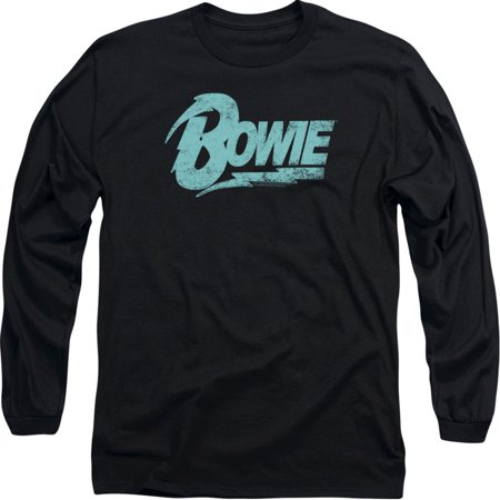 David Bowie Logo Officially Licensed Adult Long Sleeves T Shirt Bowie Ziggy Phone Booth T-shirt