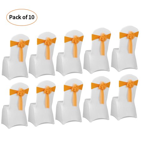 10pcs Wedding Flower Chair Sashes Elastic Spandex Organza Chair Sash Covers Wedding Banquet Supplies Decorations--Yellow](Banquet Supplies)
