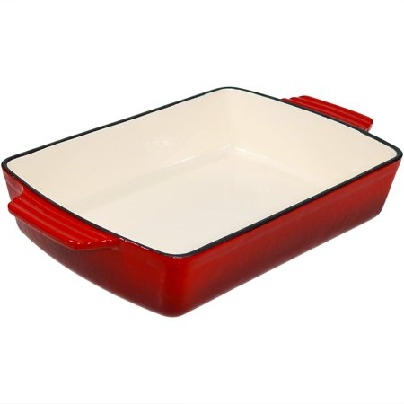 Enameled Cast Iron Deep Baking Dish Roaster/Lasagna Pan, Red, 11.5-Inch by - 18x10 Deep Dish