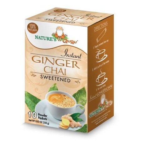 Nature's Guru Instant Ginger Chai Sweetened, 10-count (Pack of