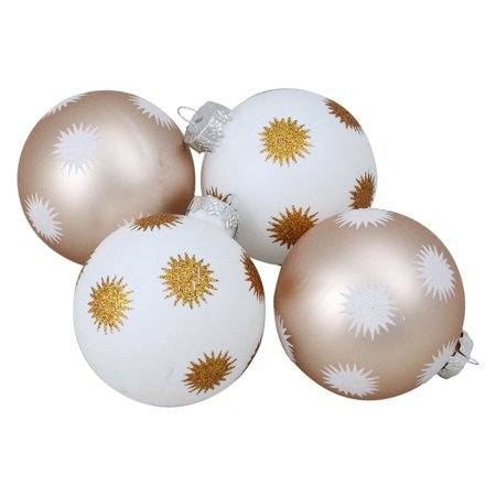 Northlight White and Champagne Gold Glittered Starburst Glass Ball Christmas Ornament - Set of