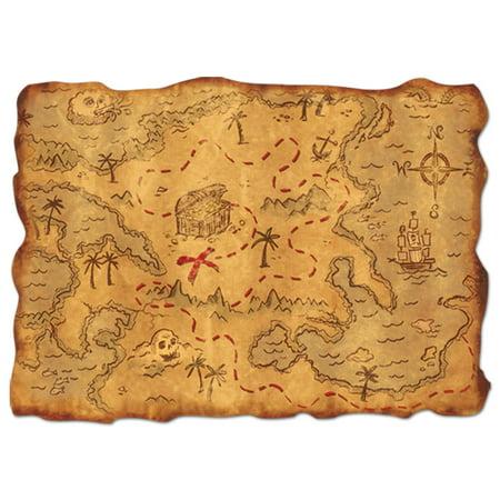 Pirate Party Decorations (Luau Pirate Plastic Treasure Map 12