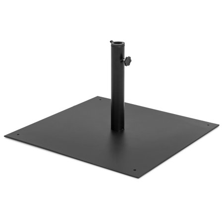 Stainless Steel Umbrella Stand (Best Choice Products 38.5lb Steel Square Patio Umbrella Base Stand w/ Tightening Knob and Anchor Holes - Black)