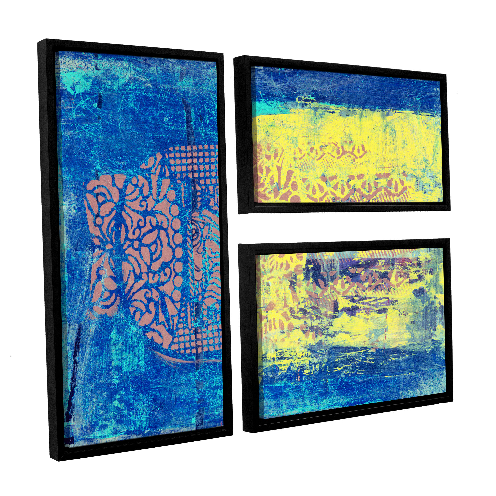 ArtWall Blue with Stencils by Elena Ray 3 Piece Framed Painting Print on Wrapped Canvas Set by Art Wall