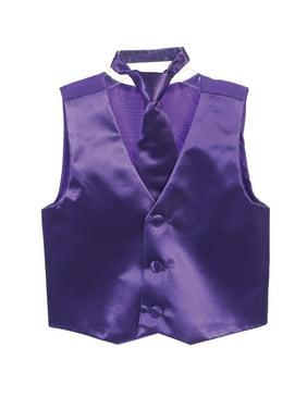 Boys Purple Three Button Satin Vest Tie 2 Pc Set